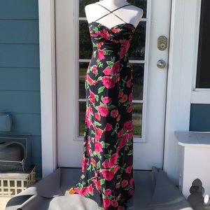 Oleg Cassini BlackTie Floral Silk Evening Gown